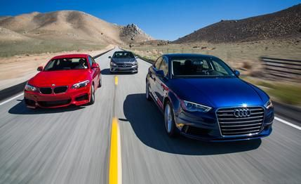 The A3 is in the lead in this picture from Car and Driver.  Why do you think that is?  #FactFriday
