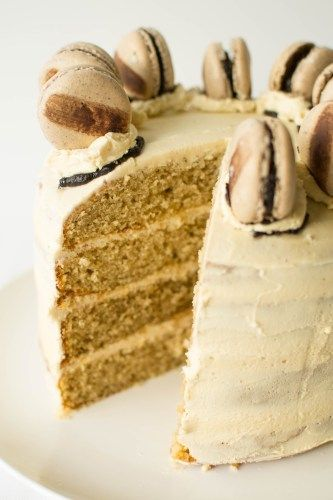 Cappuccino Layer Cake -  four moist coffee flavoured cake layers sandwiched beneath a thick cappuccino buttercream