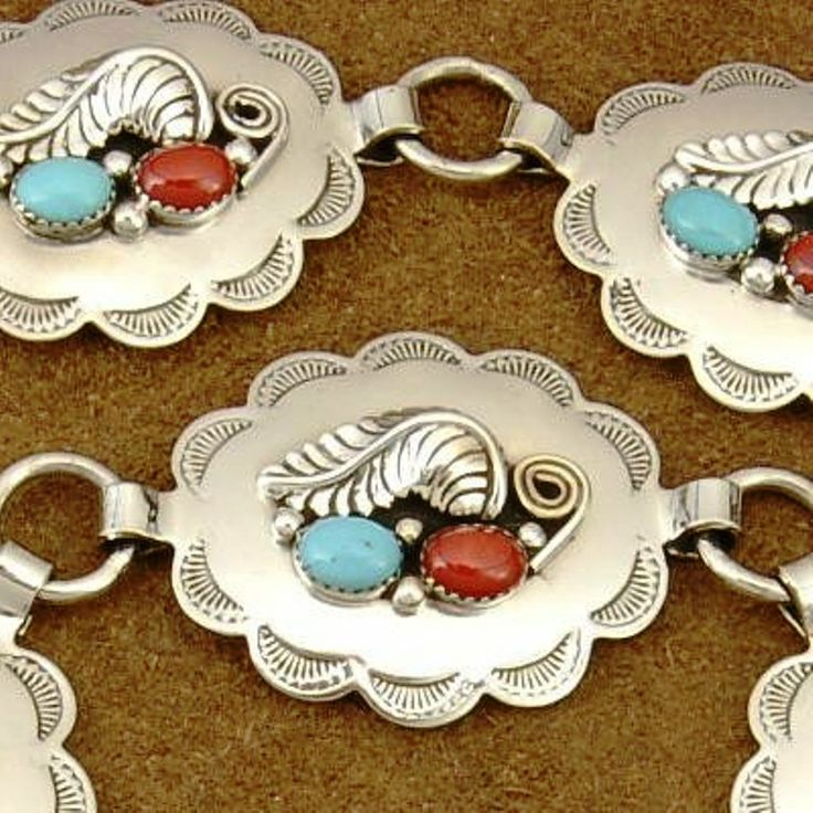 Native American Jewelry Navajo handcrafted (Concho Belt) Sterling Silver bezels