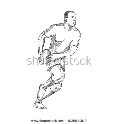 Doodle art illustration of a rugby player passing while running with ball in black and white done in mandala style.  #rugby #mandala #illustration