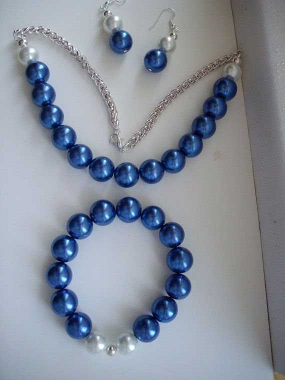 Vintage Royal Blue and White Pearl Necklace by DesignsbyPattiLynn, $65.00