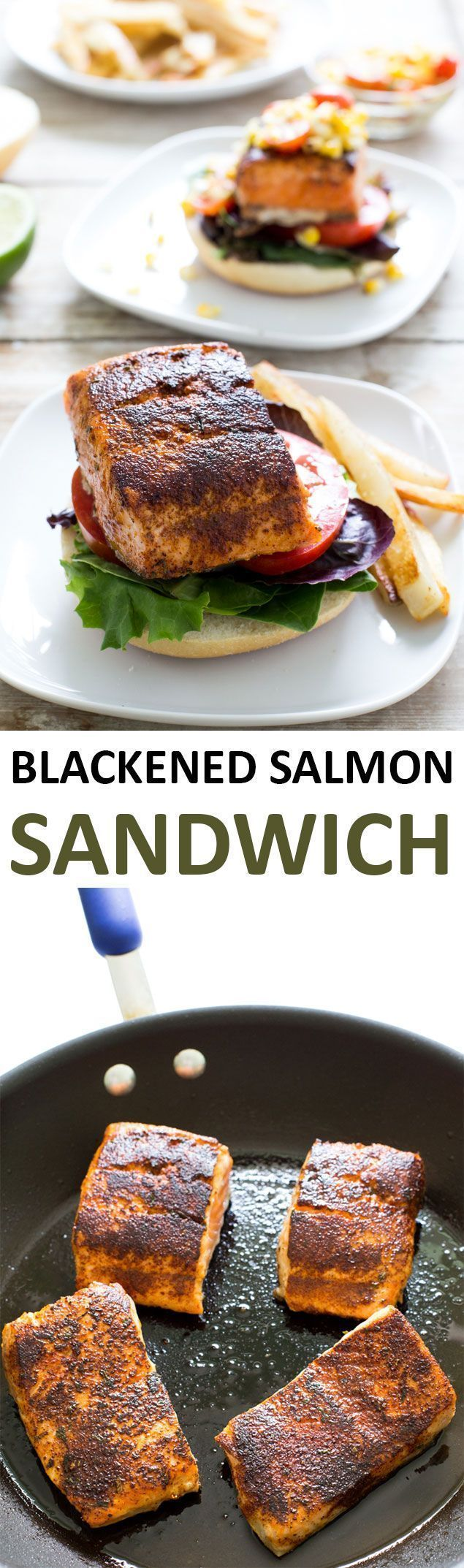 Blackened Salmon Sandwich with Grilled Corn Salsa | Recipe | Seafood ...