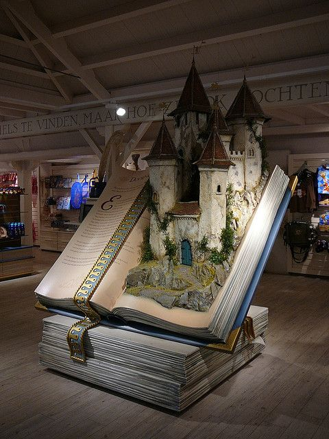 Fairy tale book in souvenir shop in Efteling (NL). The book is opened on the page of Sleeping Beauty.
