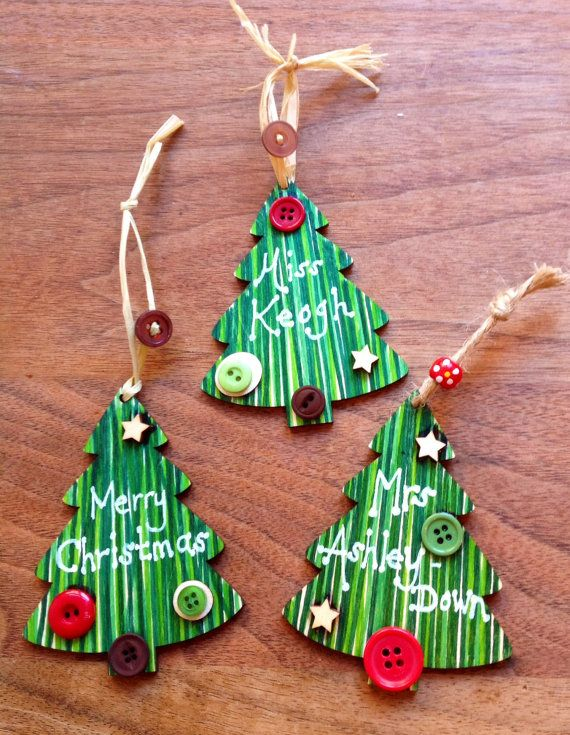 Set of 3 Shabby Chic Personalised Hand-made Christmas Tree Decorations on Etsy, £5.99