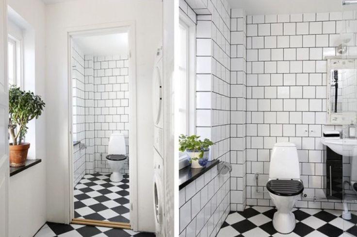Många är rädda för att lägga mönster på både väggar och golv, i alla fall när det gäller kontrasterna svart/vitt....