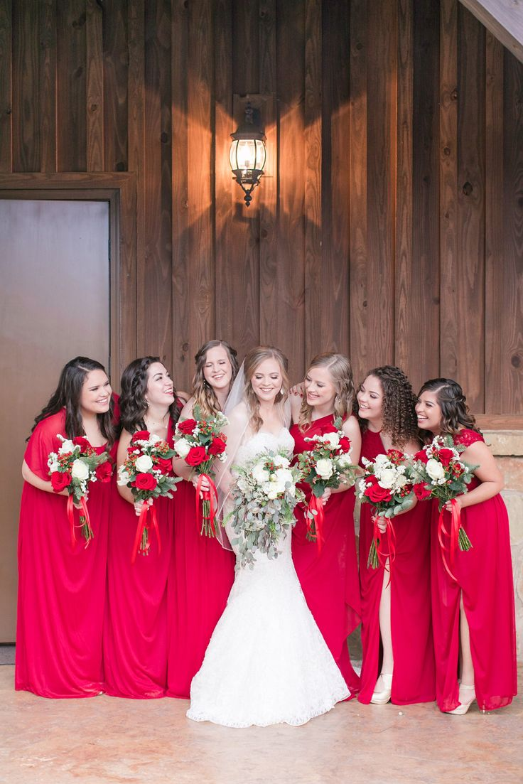 Best 25 december wedding dresses ideas on pinterest green gorgeous red bridesmaid dresses for this brides winter wedding love how each of the dresses are long but all unique styles for that particular ombrellifo Image collections