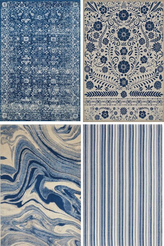 Color Combo Blue And White Rug