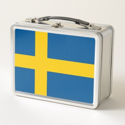 Metal Stainless Lunchbox with Sweden flag - kids kid child gift idea diy personalize design