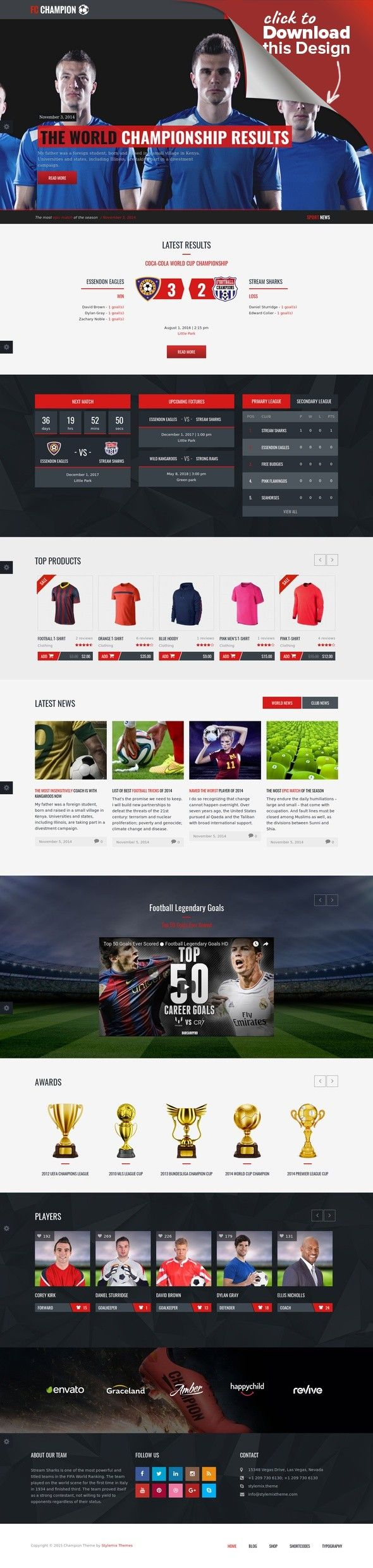 Champion - Soccer & Football WordPress Theme champion, club, events, fixtures, football, league, match, responsive, soccer, sport, sport club, table, wp Champion is the best template for Football & Soccer related website. Champion was created especially for sport clubs, football clubs, soccer news and sport organizations. The responsive layout is designed based on the Bootstrap 3.1 standards. Please note photos & images are not inclu...