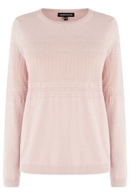 This soft knit jumper features a round neck, long sleeves, regular fit and subtle knit pattern to body and sleeves. Length of jumper, from shoulder seam to hem, 62cm approx. Height of model shown: 5ft 10 inches/178cm. Model wears: UK size 10.Fabric:Main: 72.0% Cotton  #WAREHOUSEWISHLIST