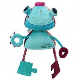 Interactieve robot Clovis - Lilliputiens €34.95  Ontdek de verschillende activiteiten van je nieuwe vriendje Clovis de robot. Draai zijn hoofdje 360°, trek eraan en het begint te trillen. Magneetjes, papiergeritsel, rammelaargeluid, spiegel, textuur- en vormherkenningsspel ... je zult gek zijn op deze superuitgeruste robot!