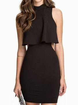 Shop Vestido Ajustado Cuello Alto Sin Espalda En Capas Negro from choies.com .Free shipping Worldwide.$20.9