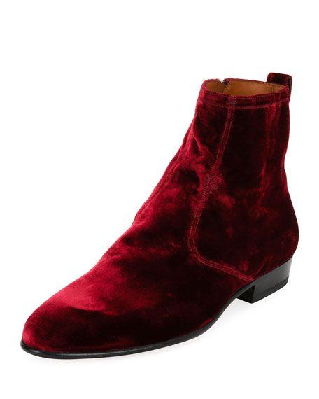 26f99a674bb3d2 BALLY Lennox Velvet Ankle Boot, Wine. #bally #shoes #   Bally Men in ...