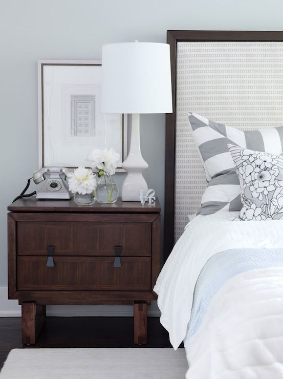 Sarah Richardson Design - bedrooms - ICI Dulux - Universal Grey - gray walls, gray paint, gray paint colors, gray bedroom walls, gray bedroom paint, framed headboard,