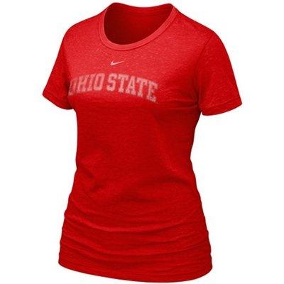 Nike Ohio State Buckeyes Ladies Scarlet Favorite Burnout Premium T-shirt