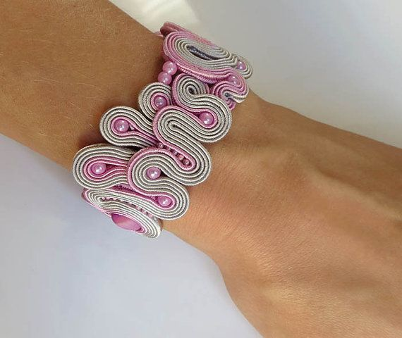 Hey, I found this really awesome Etsy listing at https://www.etsy.com/listing/247910763/unique-pink-grey-soutache-cuff-bracelet