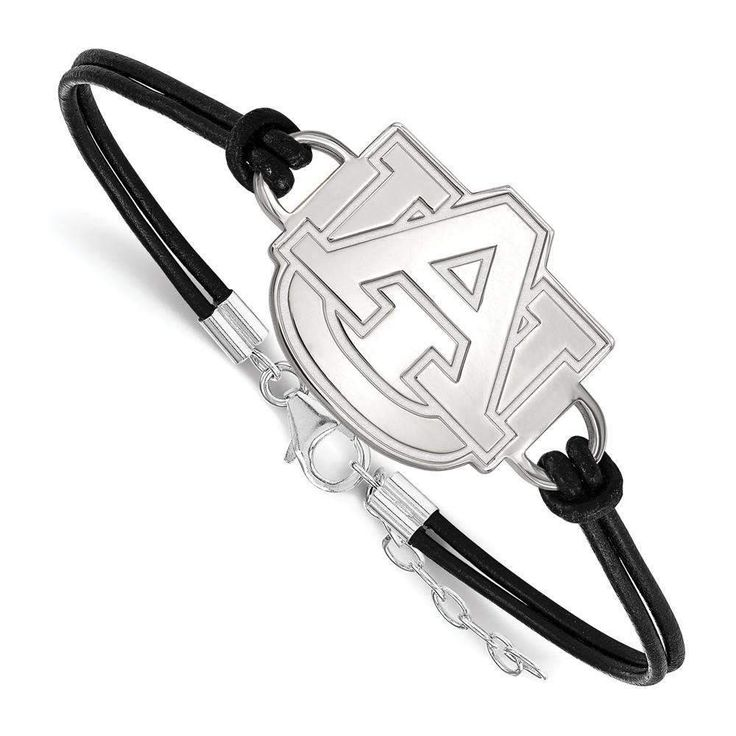 Sterling Silver LogoArt Auburn University Large Center Leather Bracelet