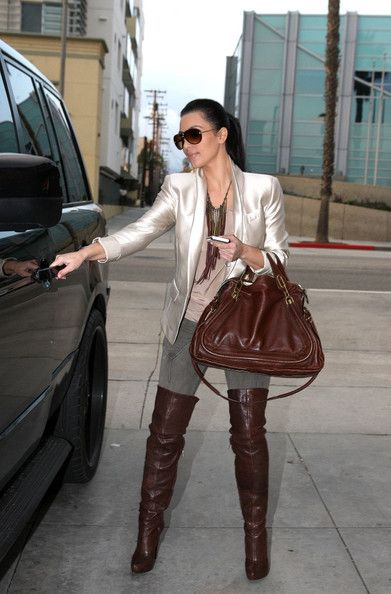 thigh high boots and blazers   More Pics of Kim Kardashian Blazer (1 of 8) - Kim Kardashian Lookbook ...
