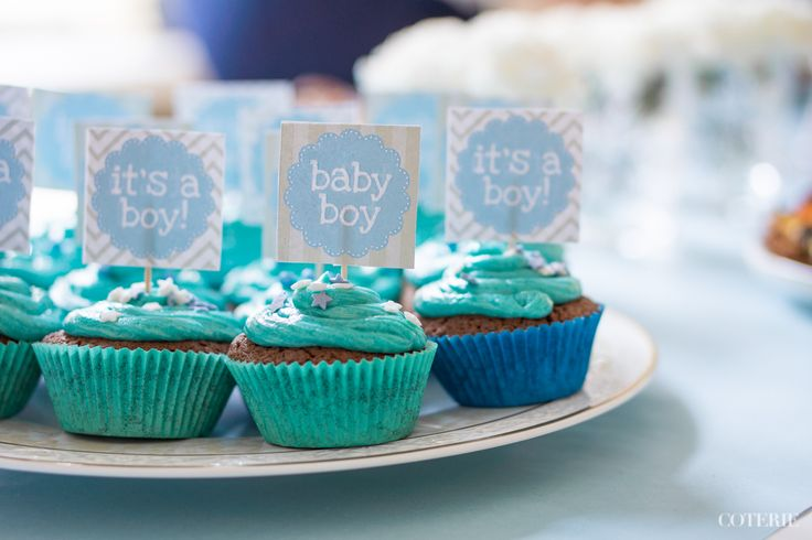 It's a boy! Decoration ideas for a baby shower. Cup cakes are a must, don't you think?! :)  Check out the whole blog post here: http://www.coterie.fi/baby-shower-for-a-boy-vauvakutsut-pojalle/