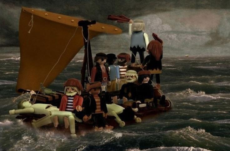 Richard Unglik avec des playmobiles - Le radeau de la Méduse