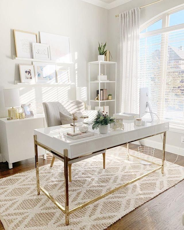 Chic Up Your Office Space With Gold Details And Textured Rugs A La Threetimesahome Shop This Pic Inst Home Office Design Home Office Decor Home Office Space