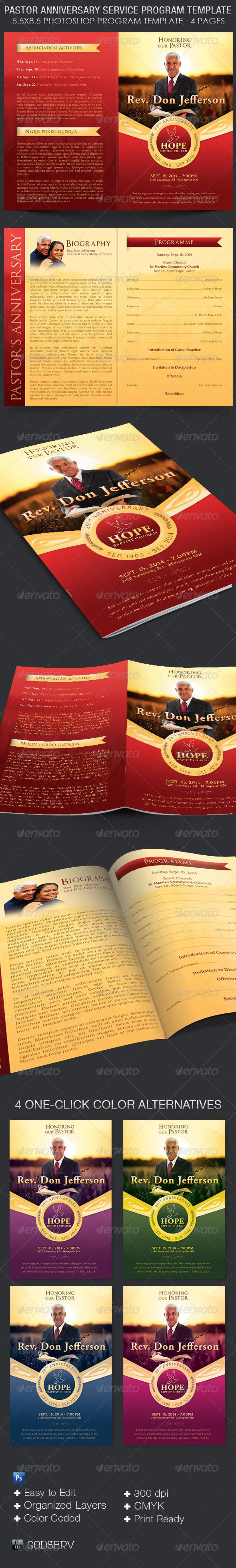 Pastor Anniversary Service Program Template  $7.00 The Pastor Anniversary Service Program Template is for church pastor appreciation or anniversary events. Can also be used for funeral program, sunday morning bulletins and more.