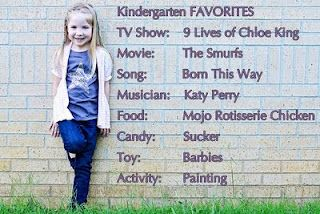 MY Kindergarten favorites  Show: spongebob, Movie: any barbie movie, Song: My favorite things, Musician: anyone in a disney movie musical candy: chocolate Toy: barbie Activity: playing with friends   WTF has happened to kids these days!? i mean Seriously!? the last couple answers were ok but  Katy Perry, Lady Gaga? my parents would have shooted me if i had listened to them at that age