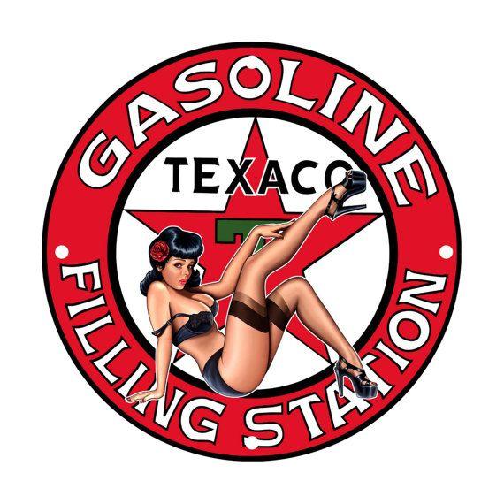 Texaco Gasoline Pinup Girl Metal Sign USA Made Auto Car Gas Oil Hot Rod Garage Art Wall Decor LS270