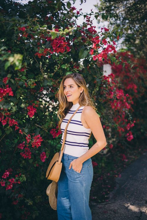 Gal Meets Glam Bougainvillea - EXPRESS top and cropped denim pants and Cuyana Cross Bag