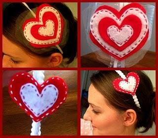 Adorable tutorial for Valentine's headband...my daughter will LOVE it :): Headbands Tutorials, Felt Hearts, Cute Headbands, Valentine'S S, Diy'S Sweetheart, Gifts Idea, Sweetheart Headbands, Crafts, Hairs Stuff