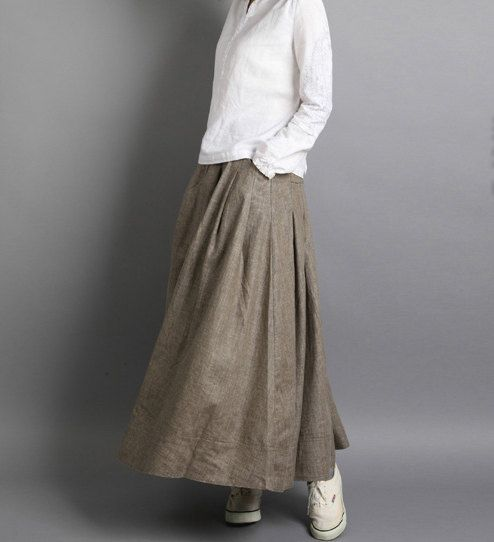Cotton & Linen khaki long skirt / Maxi skirt / expansion skirt/summer spring fall skirt/sweep long skirt/with pockets