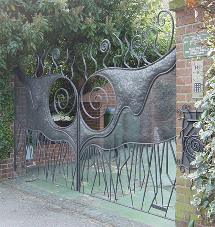 Handmade Gates | Ornamental Gates | Artistic Garden Gate | Gaudi Inspired  Forged Metal Double Driveway