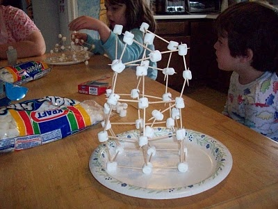 Tower of Babel with marshmallows and toothpicks