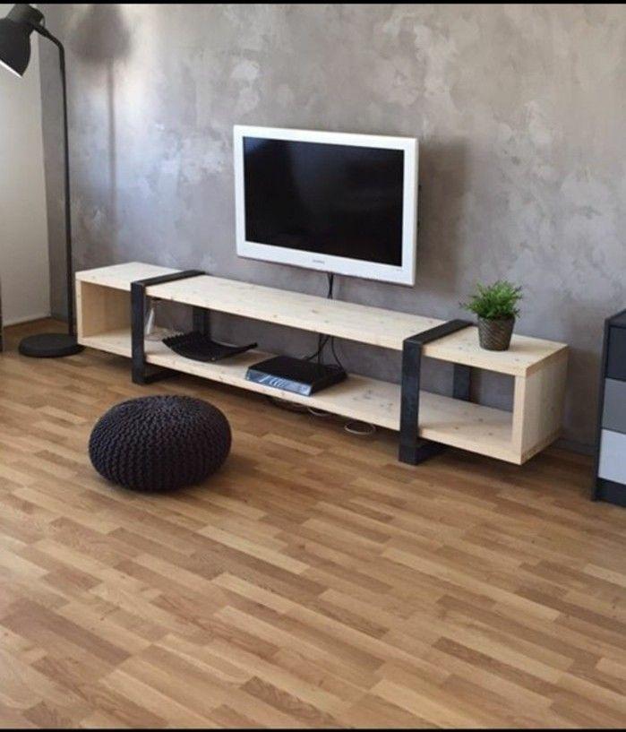 idée comment fabriquer un meuble TV en bois clair