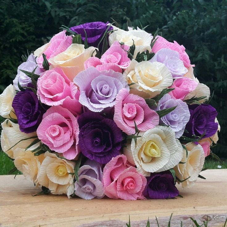 Mix Wedding Bouquet Crepe paper flowers