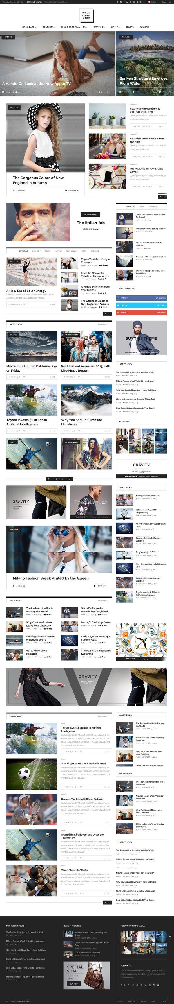 Magazine Vibe - A Powerful News & Magazine Theme #responsivedesign #html5 #css3 #wordpressthemes #seo #premiumthemes