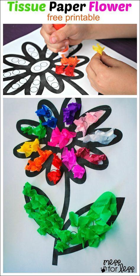 Tissue Paper Flower Art Activity - cute craft and fine motor idea