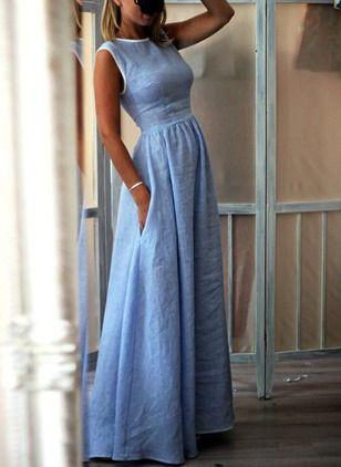 Повседневное длины макси Платья цвета сплошного из хлопока из полиэстра без рукавов