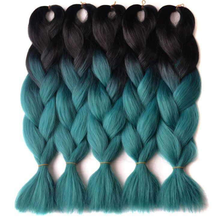 "Chorliss 24"" Straight Jumbo Ombre Braiding Hair BlackTGreen  Synthetic Hair Extensions Crochet Braids 100g/pack #Affiliate"