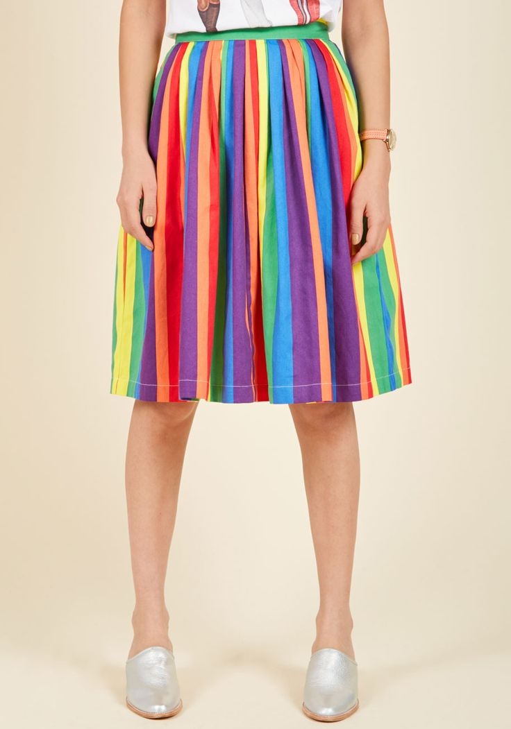 Aspiration Creation A-Line Skirt in Vibrant. Inaugurate your ambition by stepping into this A-line skirt - a standout style from our ModCloth namesake label! #multi #modcloth