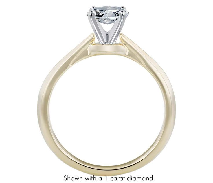 Truly Zac Posen Knife-Edge Solitaire Engagement Ring in 14k Yellow Gold