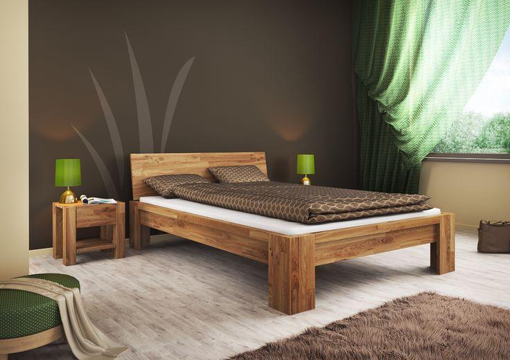 Łóżko dębowe Montana. Tartak-Meble: Łóżka sosnowe, łóżka bukowe, łóżka dębowe, stoliki, stoły, łóżka piętrowe - producent.