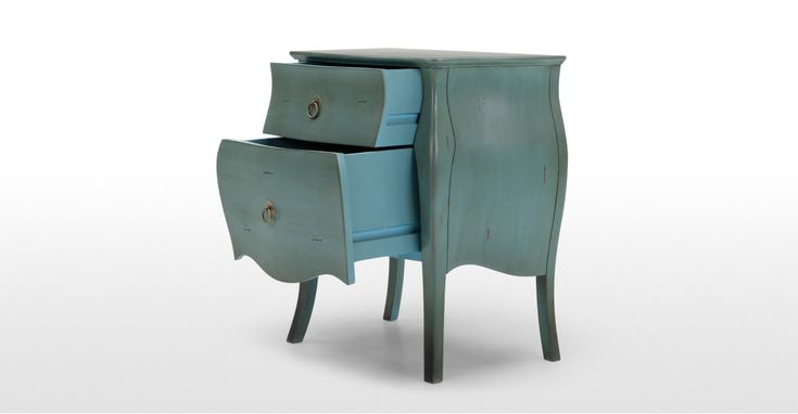 The Bourbon bedside table in azure blue adds classic French style with a contemporary twist.