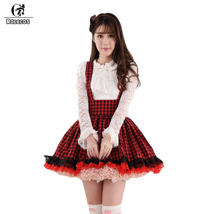 ROLECOS Fashion Women Tank Skirt Summer Style High Waist Female Short Red Plaid Skirt Suspender Women Lolita Skirt #Affiliate
