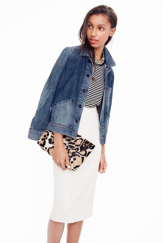 Denim workwear jacket, tippi sweater in stripe, no. 2 pencil skirt in double serge wool ivory - J. Crew spring 16