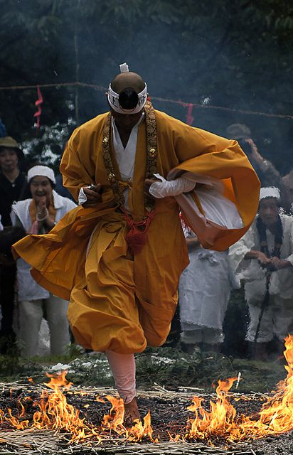 Yamabushi (Japanese mountain ascetic hermits) walk on the fire for his training