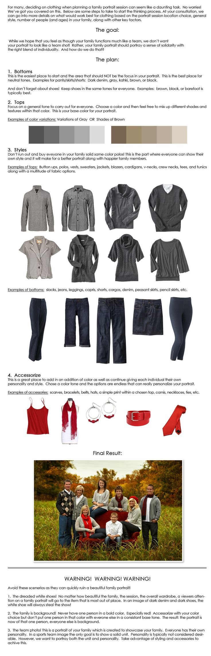 """Nice family photo """"what to wear"""" guide"""