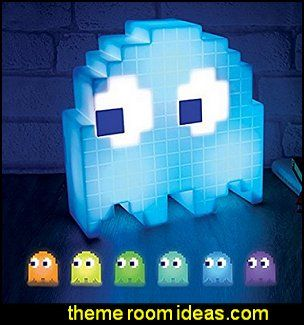 PacMan Ghost Light USB Powered Multi-colored Lamp Gamer bedroom – Video game room decor – gamer bedroom furniture – gamer wall decal stickers – Super …