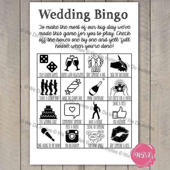 Wedding Bingo Game - Ice Breaker - Printable Wedding Favour - Reception Games - Instant Download