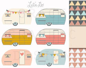 Retro Trailer Camper Clip Art EPS Geometric Digital Paper Pack Small Commercial Use Instant Download